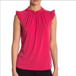 Adrianna Papell Solid Ruffle Neck Pink Top Sz- M